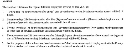 A government employee contract outlining how employees earn vacation time.