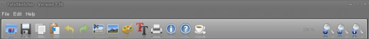 Toolbar - icons L to R - Open photo; Save drawing; Copy drawing to clipboard; Paste clipboard image;  Undo arrow; Redo arrow; Crop to selection; Modify source image; Drawing parameters; Add text; Print;; Abort; Help; Coffee; and Zoom (-,100%.+)
