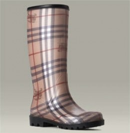 Burberry Rubber Rain Boot with an allover check pattern