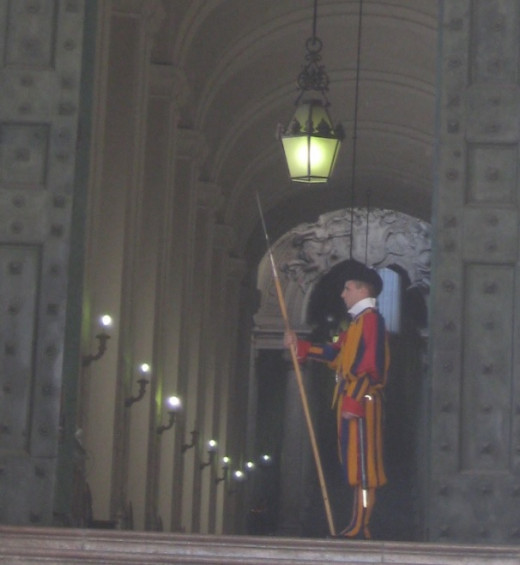 Swiss Guard at St. Peter's Basilica in the Vatican.