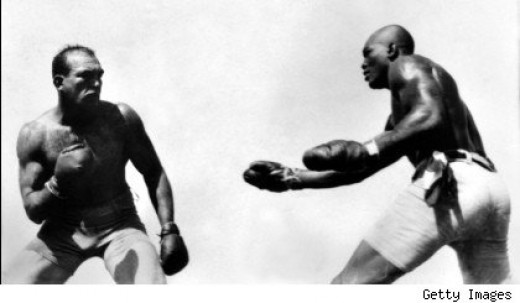 The fight between James Jeffries (L) and Jack Johnson (R) was a groundbreaking racial event that changed the course of history.