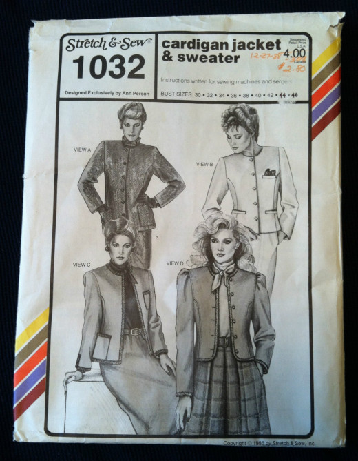 1985 Stretch & Sew Pattern--Cardigan Jacket & Sweater