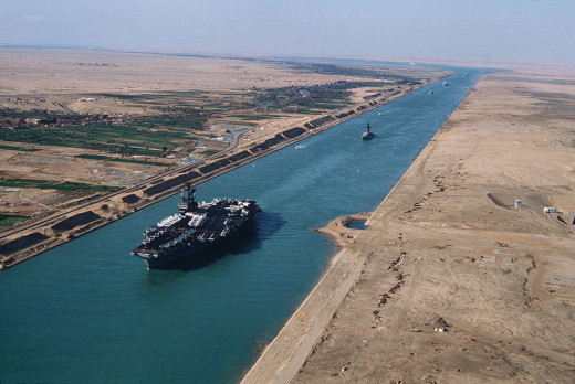 The opening of the Suez Canal in 1869 connected the Red Sea with the Mediterranean Sea.