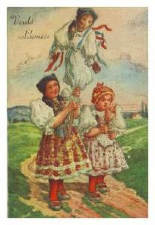 "A Czech card proclaiming ""Happy Easter!"""