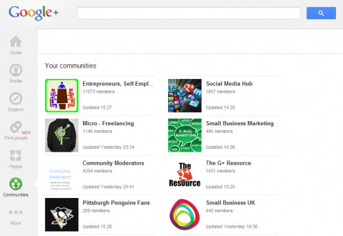 There's a huge range of Google Plus Communities available