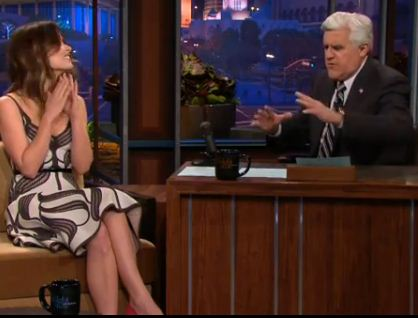 Olivia Wilde talking to Jay Leno