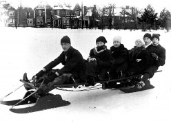 Group on sled in Riverdale Park, Toronto, circa 1912