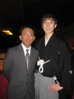 Here is a picture of me with Sanshiro Katsura. He is a actor who performs is a specialized theatrical style alongside appearing in TV shows and movies.