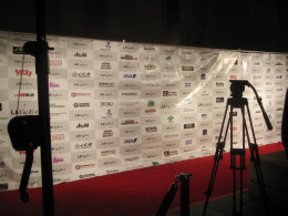 The background used for the red carpet at LA Eigafest 2012. It lists some of the sponsors involved in the festival.