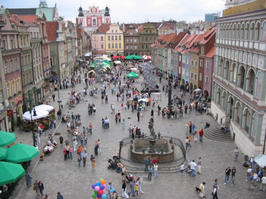The market at Poznan, showing an urban style that is different from the western nations of Europe
