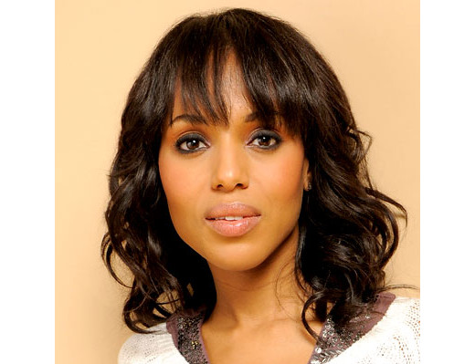 Kerry Washington with smoky eye makeup, black eyeliner and shadow