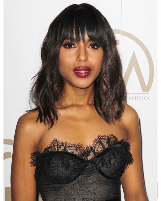 Kerry Washington with relaxes hair