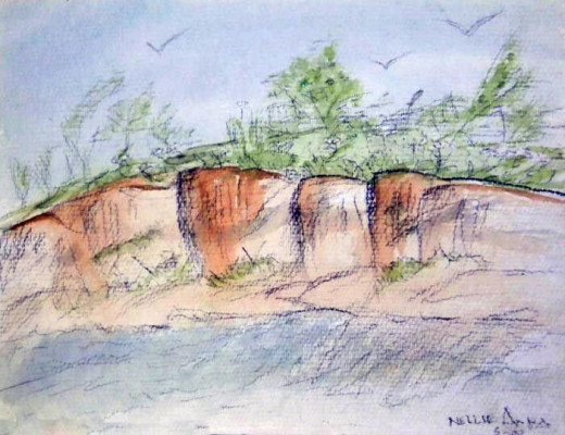 Watercolor & charcoal: Little Cliffs