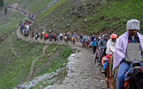 Pilgrims enroute the holy Hindu shrine of Amarnath located in the Indian state of Jammu and Kashmir.