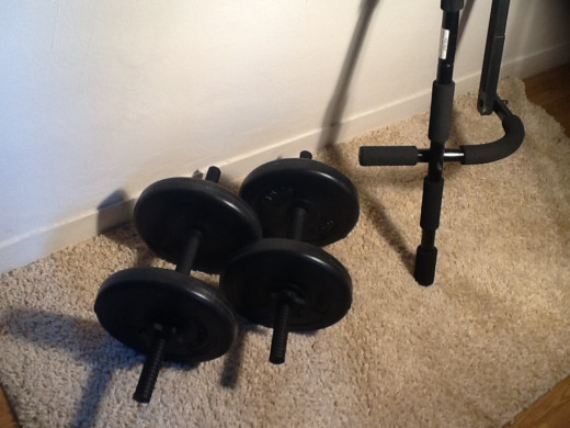 Dumbbells with chin up bar