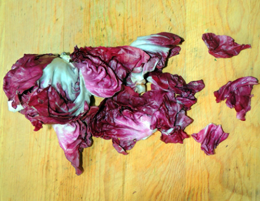rip up leaves of radicchio into bite-sized pieces