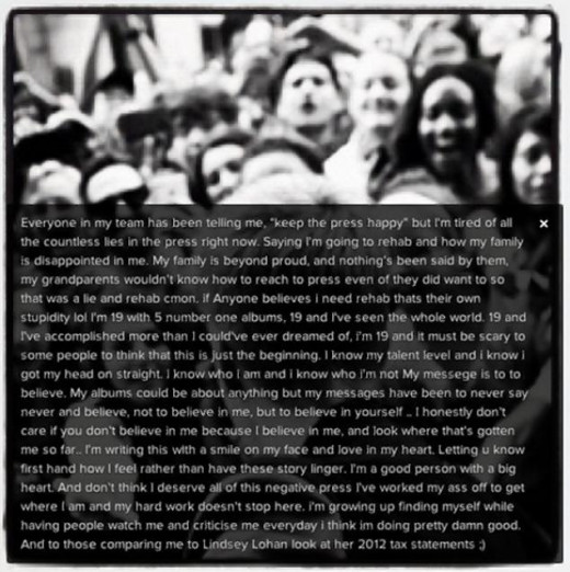 Bieber publicly posted this rant on Instagram in March 2013