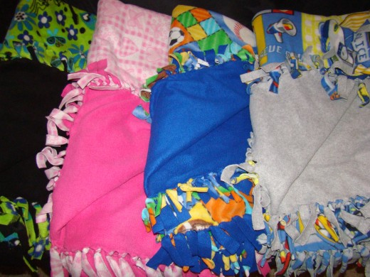 no-sew fleece blankets with one side patterned and one side plain