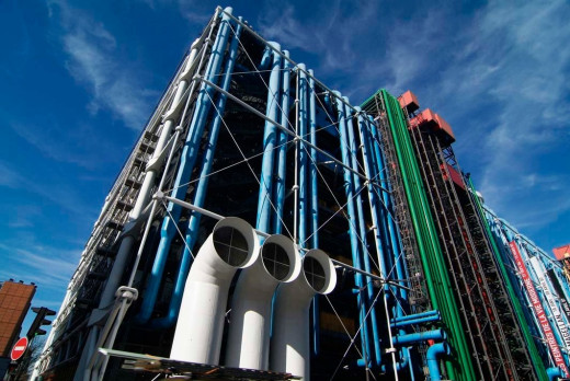 One of the many symbols of culture in Paris is the Pompidou Centre and its inside-out looks, dreamed by the President Pompidou who wished that Paris would possess a temple of culture where all forms of plastic arts would meet books, music, cinema etc