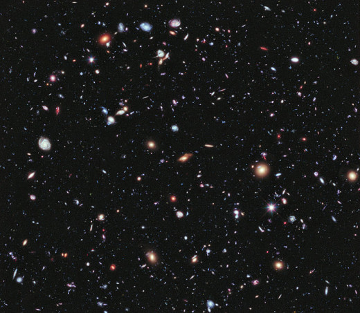 Image of far away galaxies taken by the Hubble Space Telescope