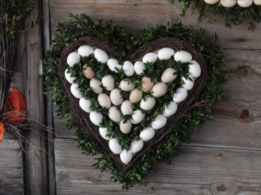 Heart shaped wreath made out of blown out egg shells