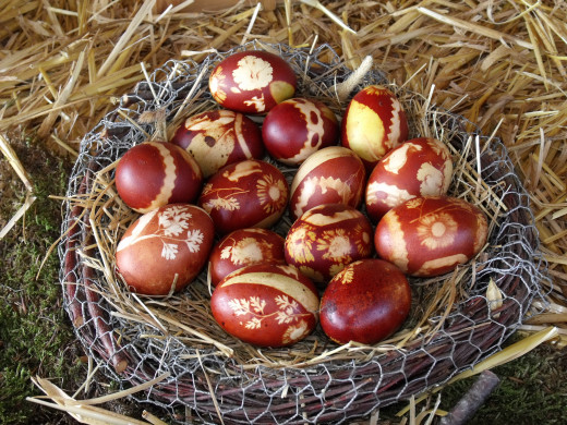 Eggs dyed with onion peels and herbs