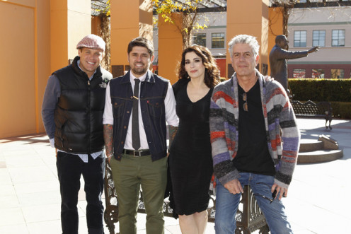 """The Taste"", Los Angeles, January 2013:  Nigella Lawson with Brian Malarkey, Ludovic Lefebvre and Anthony Bourdain."