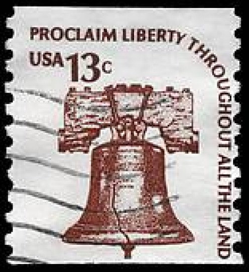 USA Circa 1975 Liberty bell postage stamp