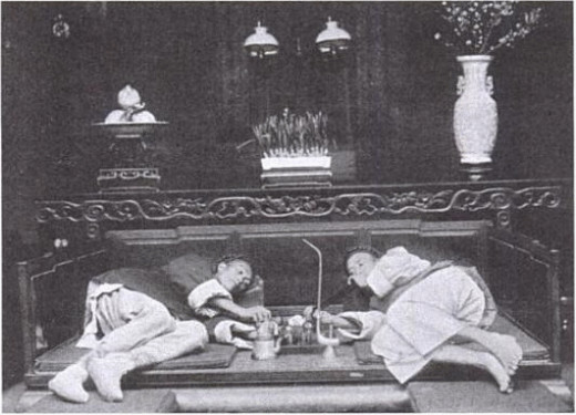 An Opium den in China circa 1902.