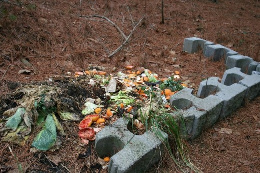 My compost pile is very simple and outlined with masonry blocks left over from my house construction.