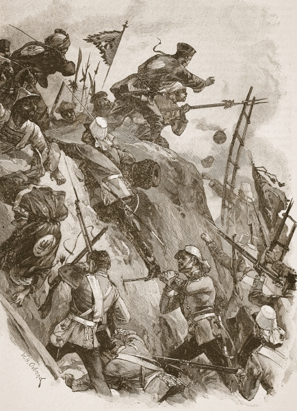 The storming of Taku Fort in the Second Opium War.