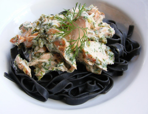 black tagliatelle with smoked samon:  colored by cuttlefish ink, black pasta partners perfectly with seafood, cheese, or vegetables.