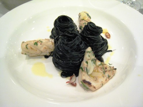 complete picture:  black pasta with squid