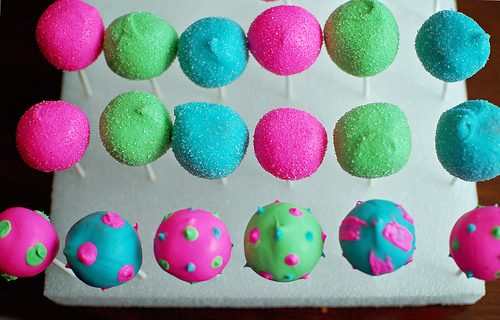 Cake Pops in Styrofoam block.