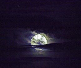 Moon, Clouds and a Bright Star