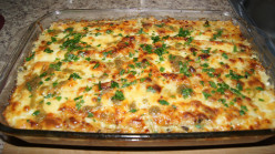 Vegetable Lasagne with Pesto/Alfredo sauce and Sausage.