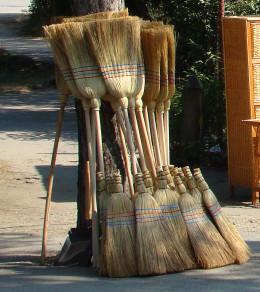 Sorghum-made brooms with long handles as well as short handles