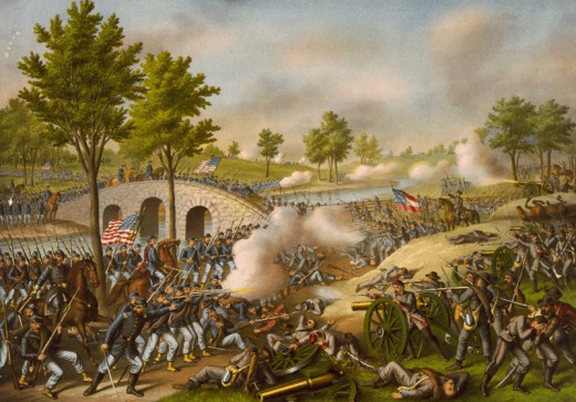 In this romanticised artist's conception of the battle, Union and Confederate troops are locked in close quarter combat along the banks of Antietam Creek in western Maryland.