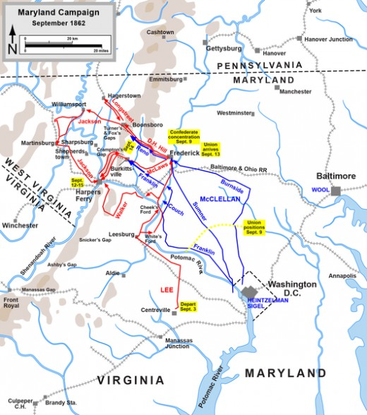 A map showing the actions taken during the Maryland Campaign. The Confederacy are shown in red and the Union are shown in blue.