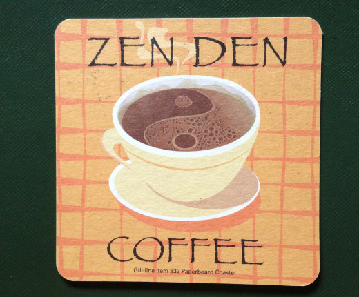 Promotional coaster made of heavy paper for a restaurant.