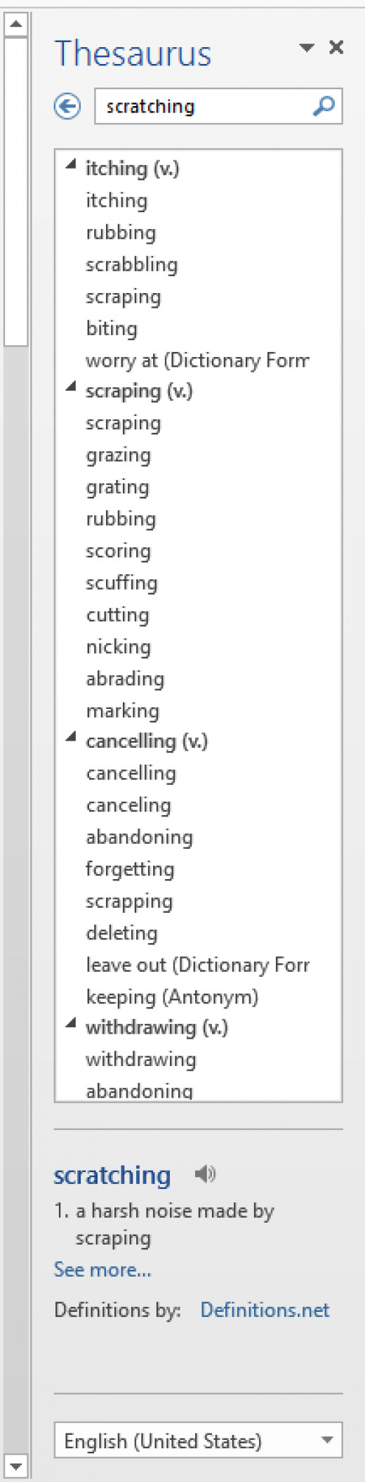 Screenshot of the Thesaurus pane in Word 2013.
