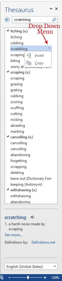 Screenshot of inserting a word, Word 2013.