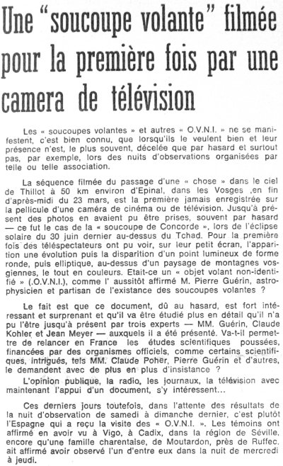 Click the link to visit the page source that includes a translation of the French text (article published in the daily newspaper Le Provençal, France, page 9, on March 31, 1974).