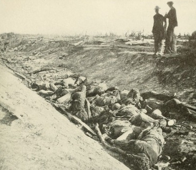 A photograph taken in 1862 showing Confederate dead lying in Bloody Lane.