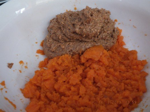 Almond butter and sweet potato living in harmony!