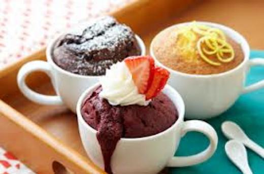 A trio of delicious mug cakes.