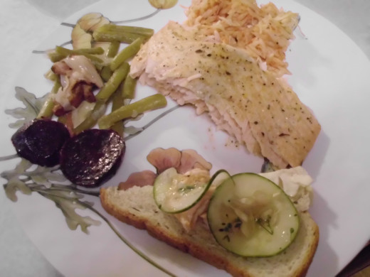 Smoked Salmon, cucumber sandwiches, green bean casserole and baked beats. (my personal recipe for smoked salmon)