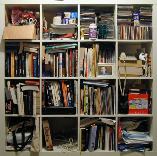 Thoughts like this bookshelf... need organization.