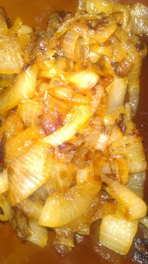 Golden brown caramelized onions!