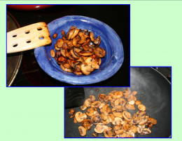 Sliced mushrooms a touch of sauce and sauteed on low to create a robust meaty taste.